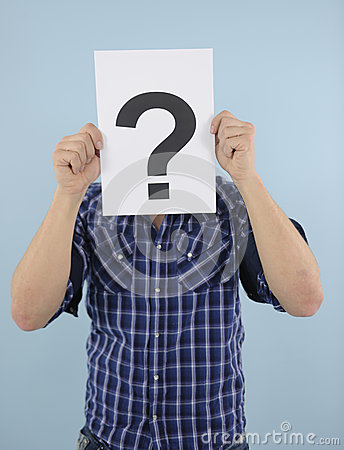 Young man with question mark