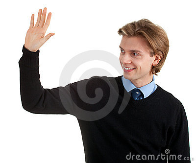 Young man with raised arm, waving hello