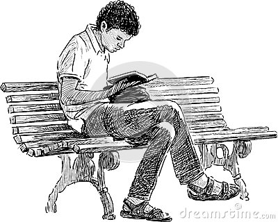 Young Man Reading Stock Vector Image 43356981