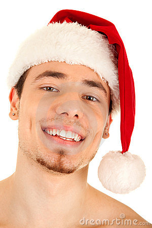 Young man in red Christmas hat