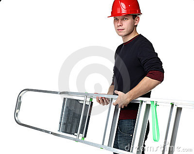 Young man in red hard hat holding stepladder