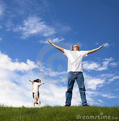 Free Young Man Relax And Dog Stock Images - 19257744