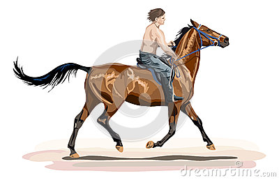 Young man riding on glossy horse