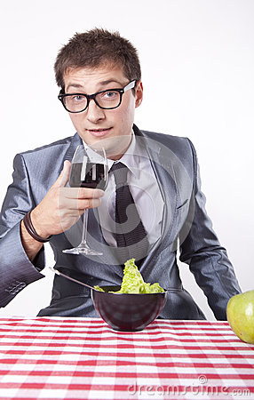 Young man with a salad