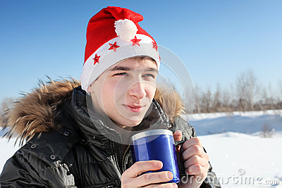 Young man in santa hat