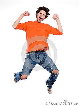Young man screaming happy joy