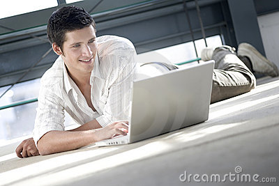 Young man shopping on line