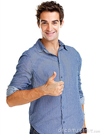 Young man showing thumbs up sign