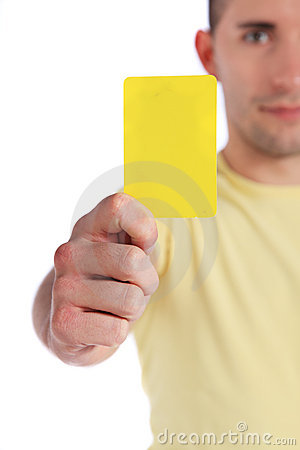 Free Young Man Showing Yellow Card Royalty Free Stock Photography - 16720027