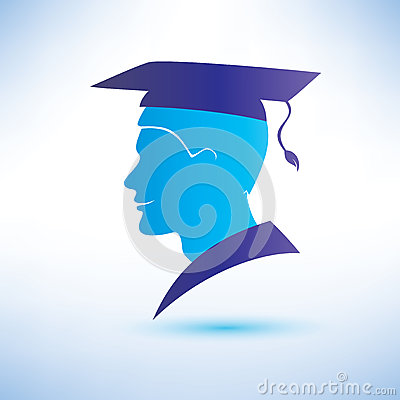 Young man silhouette with graduation cap