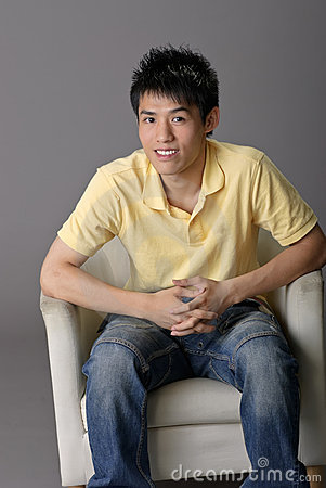 Young man sit on chair