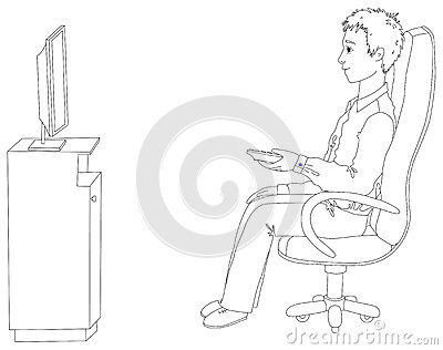 Young man sitting in a chair and watching TV