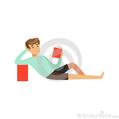 Young man sitting on the floor and reading a book vector Illustration Vector Illustration