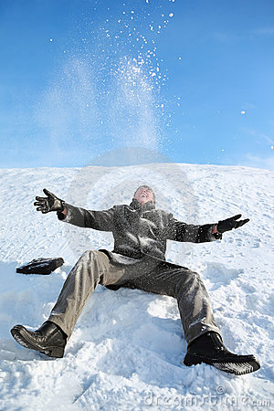 Free Young Man Sitting On Snow And Throw Him Upwards Royalty Free Stock Image - 19719486