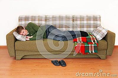 Young man sleeps