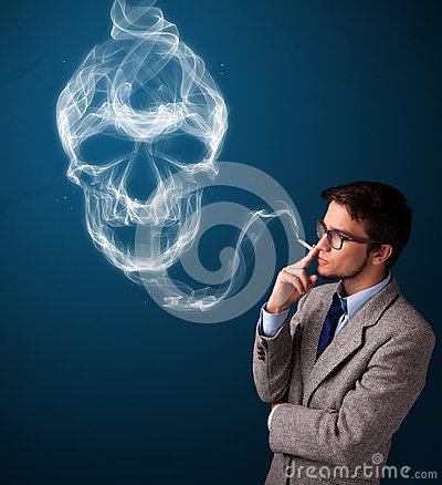 Free Young Man Smoking Dangerous Cigarette With Toxic Skull Smoke Stock Photo - 91300590