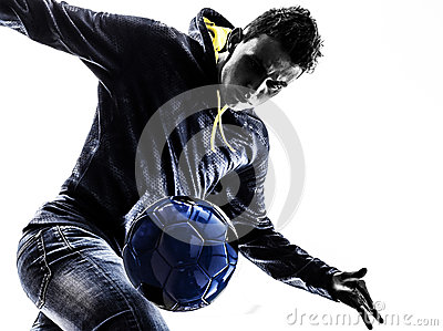 Young man soccer frestyler player silhouette