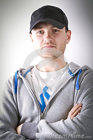 Young man in sport hat