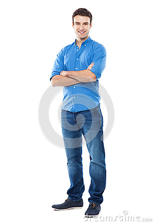 Free Young Man Standing Against White Background Royalty Free Stock Photos - 37809978
