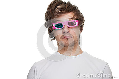 Young man in stereo glasses surprised isolated