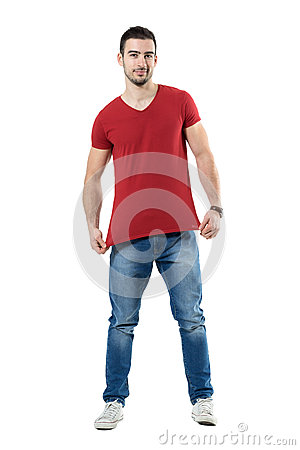 Free Young Man Stretching And Showing Red T-shirt Blank Copy Space Royalty Free Stock Photos - 90741718