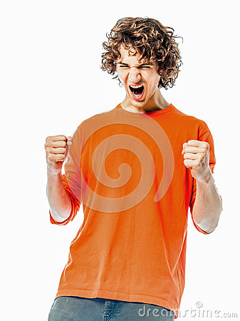 Young man strong screaming happy portrait