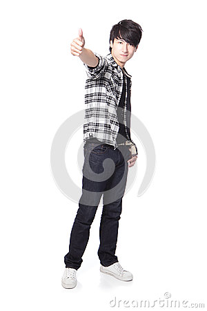 Young man student show thumb up