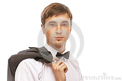 Young man in suit and bow tie
