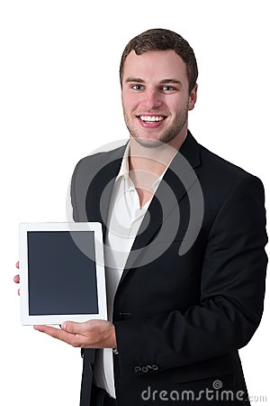 Young man in suit holding tablet pc