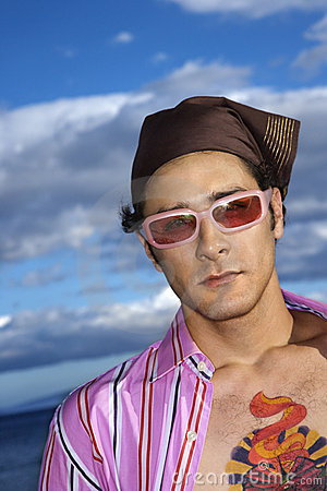 Young Man With Sunglasses and Headscarf