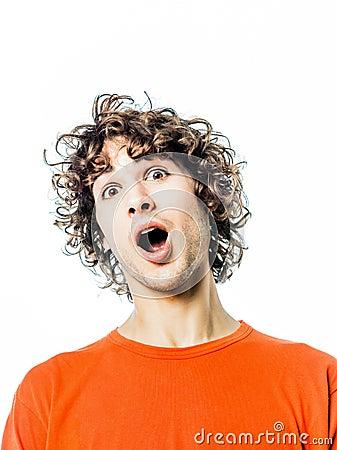 Young man surprised amazed portrait
