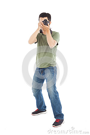 Young man take a picture