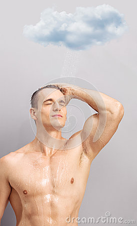 Free Young Man Taking Shower Under A Raining Cloud Royalty Free Stock Image - 57356606