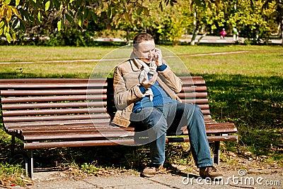 Young man talking at the phone