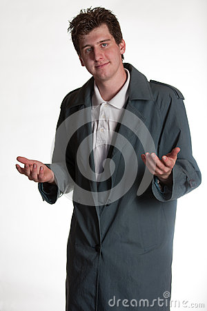 Young man in trench coat