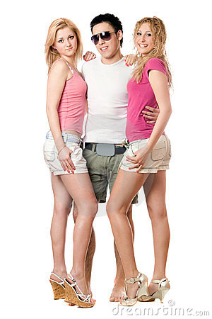 Young man and two beautiful girls