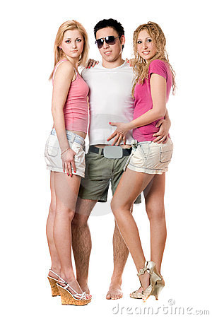 Young man and two pretty girls