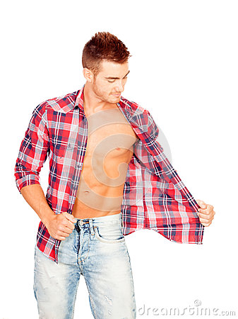Young man with unbuttoned plaid shirt
