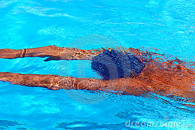 Young man under water