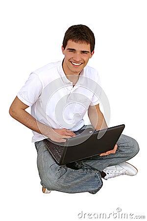 Young man using lap-top.