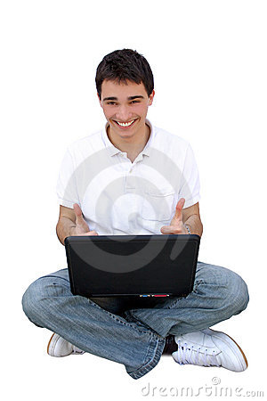 Young man using lap-top