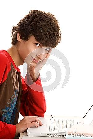 Young man using laptop