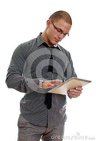 Young man using tablet pc.