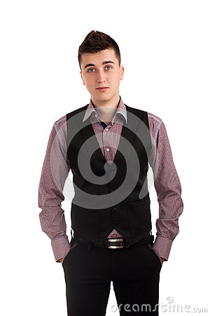 Young man in a vest