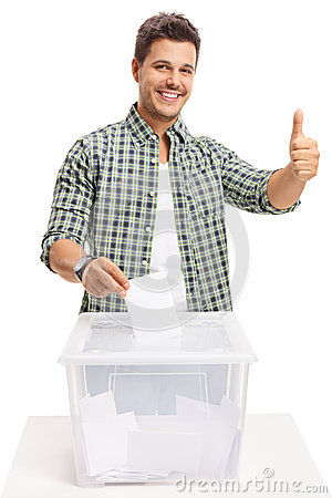 Free Young Man Voting And Making A Thumb Up Sign Royalty Free Stock Image - 97512466