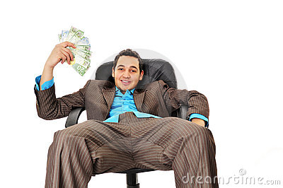 Young man with wad of money
