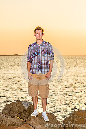 Free Young Man Waiting For You On Sunset Royalty Free Stock Image - 94349206