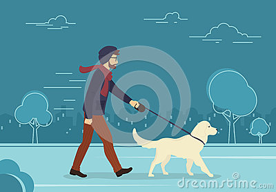Young man walking outdoors with his dog in the evening Vector Illustration