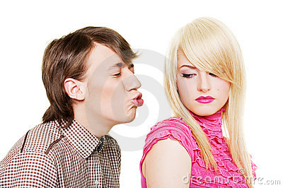 Young man want to kiss inaccessible blonde