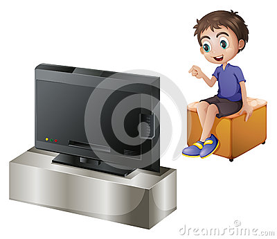A young man watching TV